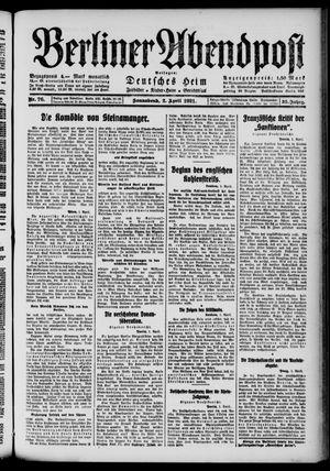 Berliner Abendpost vom 02.04.1921