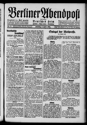 Berliner Abendpost vom 03.04.1921