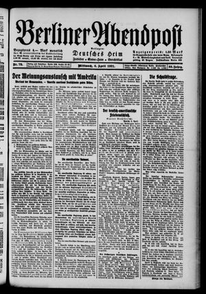 Berliner Abendpost vom 06.04.1921