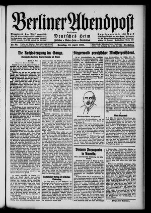 Berliner Abendpost vom 10.04.1921