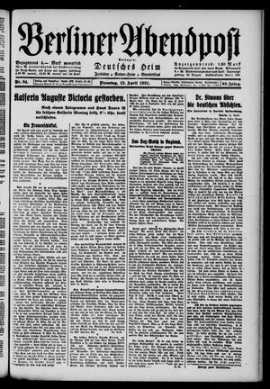 Berliner Abendpost vom 12.04.1921
