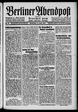 Berliner Abendpost vom 14.04.1921