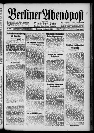 Berliner Abendpost vom 19.04.1921