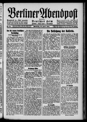 Berliner Abendpost vom 20.04.1921