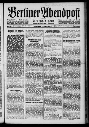 Berliner Abendpost vom 21.04.1921