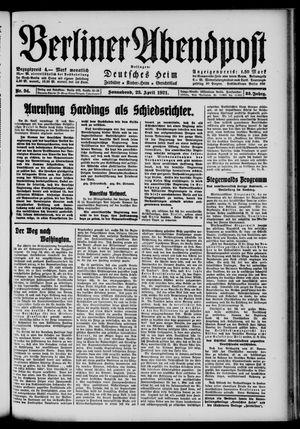 Berliner Abendpost vom 23.04.1921