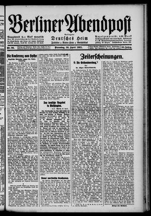 Berliner Abendpost vom 26.04.1921