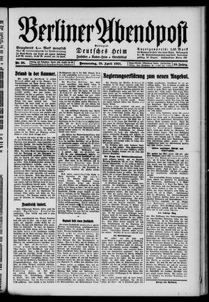 Berliner Abendpost vom 28.04.1921