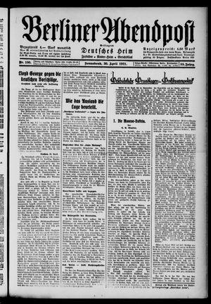 Berliner Abendpost vom 30.04.1921