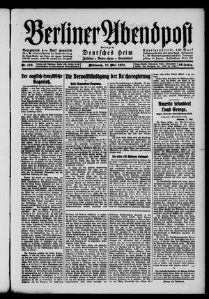 Berliner Abendpost vom 18.05.1921