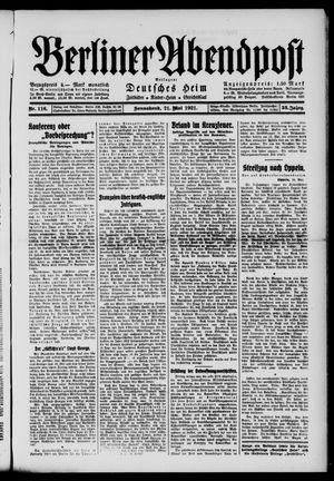 Berliner Abendpost vom 21.05.1921