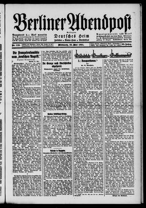 Berliner Abendpost vom 25.05.1921