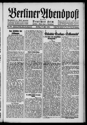 Berliner Abendpost vom 27.05.1921