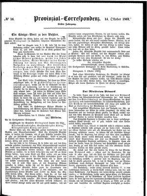 Provinzial-Correspondenz on Oct 14, 1863