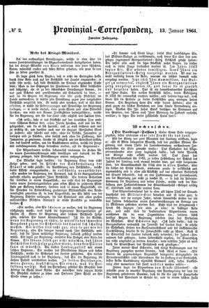 Provinzial-Correspondenz vom 13.01.1864