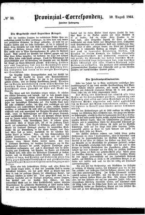Provinzial-Correspondenz vom 10.08.1864