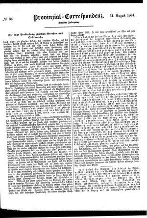 Provinzial-Correspondenz on Aug 31, 1864