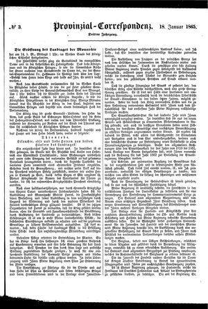 Provinzial-Correspondenz vom 18.01.1865