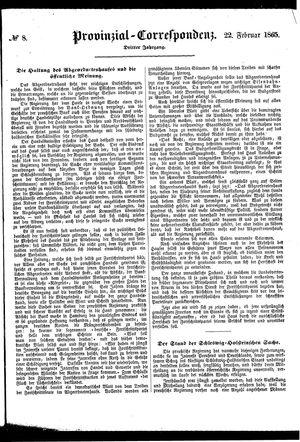 Provinzial-Correspondenz vom 22.02.1865