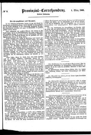 Provinzial-Correspondenz vom 01.03.1865