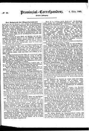 Provinzial-Correspondenz vom 08.03.1865