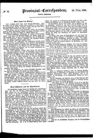 Provinzial-Correspondenz vom 22.03.1865