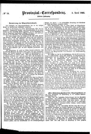 Provinzial-Correspondenz vom 05.04.1865