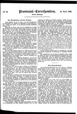 Provinzial-Correspondenz vom 19.04.1865
