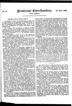 Provinzial-Correspondenz vom 26.04.1865