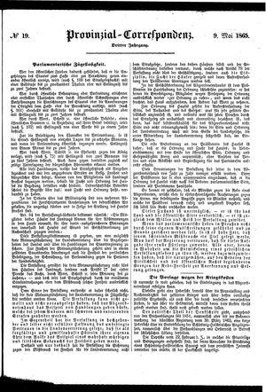 Provinzial-Correspondenz vom 09.05.1865