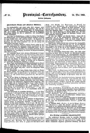 Provinzial-Correspondenz vom 24.05.1865