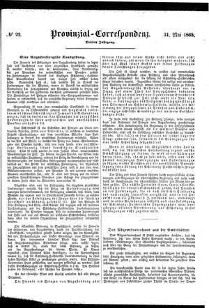 Provinzial-Correspondenz on May 31, 1865