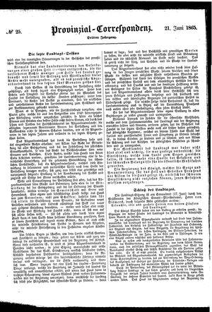 Provinzial-Correspondenz vom 21.06.1865