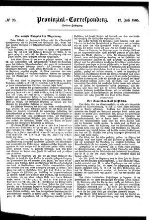 Provinzial-Correspondenz vom 12.07.1865