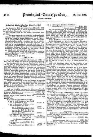 Provinzial-Correspondenz vom 19.07.1865