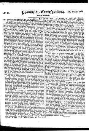 Provinzial-Correspondenz vom 16.08.1865
