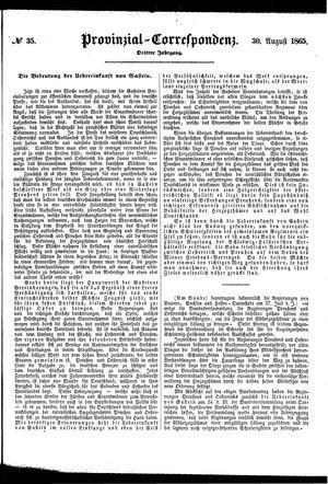 Provinzial-Correspondenz vom 30.08.1865