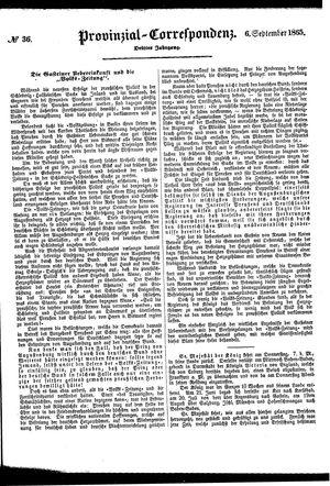 Provinzial-Correspondenz vom 06.09.1865
