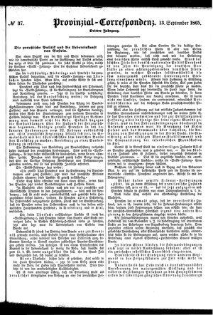 Provinzial-Correspondenz vom 13.09.1865