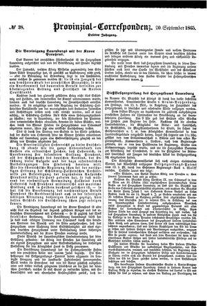 Provinzial-Correspondenz vom 20.09.1865