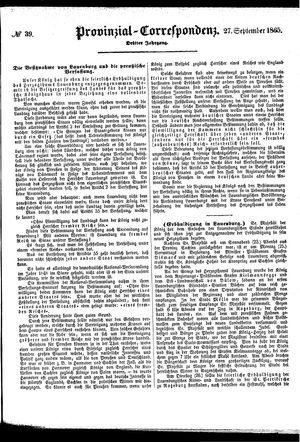Provinzial-Correspondenz vom 27.09.1865