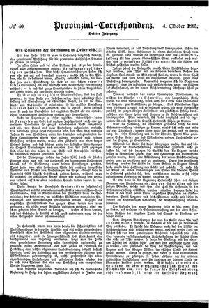 Provinzial-Correspondenz vom 04.10.1865