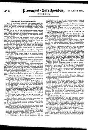 Provinzial-Correspondenz vom 11.10.1865