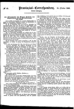 Provinzial-Correspondenz vom 18.10.1865