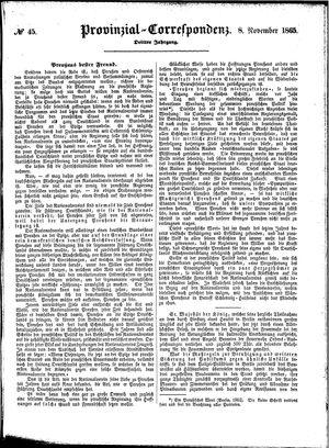 Provinzial-Correspondenz vom 08.11.1865
