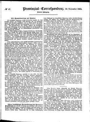 Provinzial-Correspondenz vom 22.11.1865
