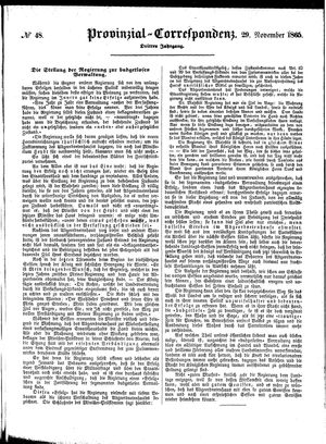 Provinzial-Correspondenz on Nov 29, 1865