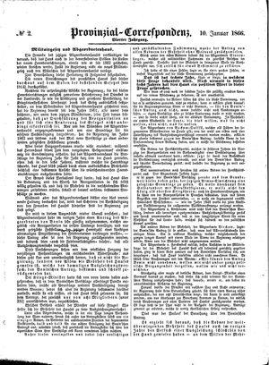 Provinzial-Correspondenz vom 10.01.1866