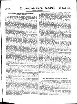 Provinzial-Correspondenz on Apr 18, 1866