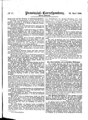 Provinzial-Correspondenz vom 25.04.1866